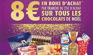 Carrefour Chocolats Noël : 8€ offerts en bon tous les 25€ d'achat