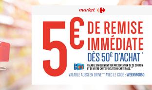Bon de réduction Carrefour Market : 5€ de remise dès 50€