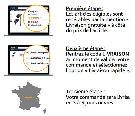 Livraison Amazon à 1 centime d'euro grâce à un code promo