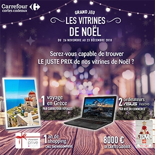 Jeu Les vitrines de Noël de Carrefour : 24 gros cadeaux à gagner