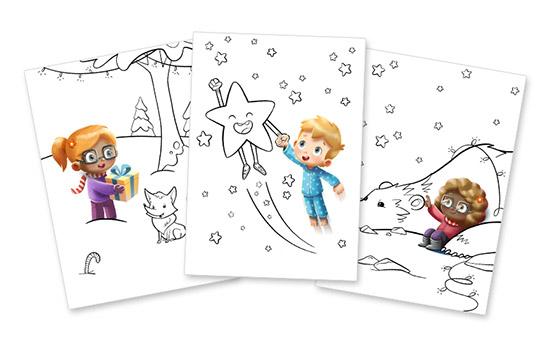 Imprimez gratuitement le livret de coloriage Hourra Héros de Noël