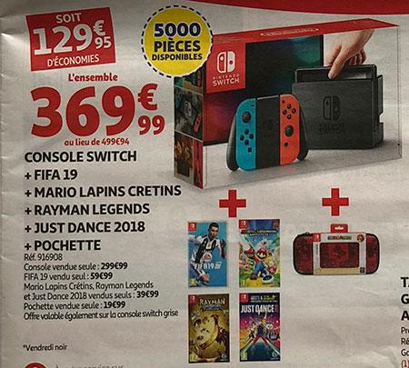Pack Console Nintendo Switch avec 4 jeux chez Auchan pour le Black Friday