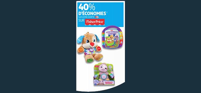 40% de réduction fidélité sur les jouets Fisher-Price