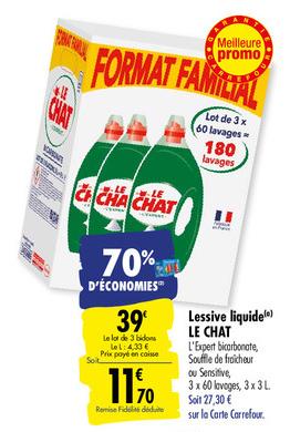 70% d'économies sur le pack de 3 bidons de lessive Le Chat chez Carrefour