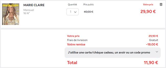16 mensuels Marie Claire pour seulement 11,90€
