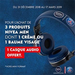 Nivea Men : Casque audio PSG offert pour 3 produits achetés