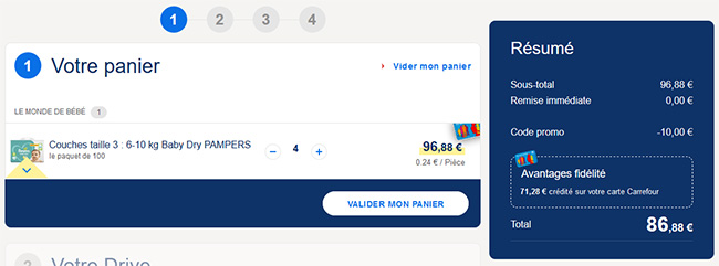 Optimisation promotion Pampers + code promo Carrefour Drive