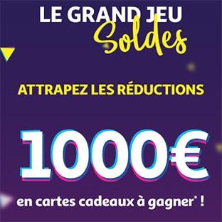 Jeu Soldes d'hiver Auchan : 10 cartes cadeaux de 100€ à gagner