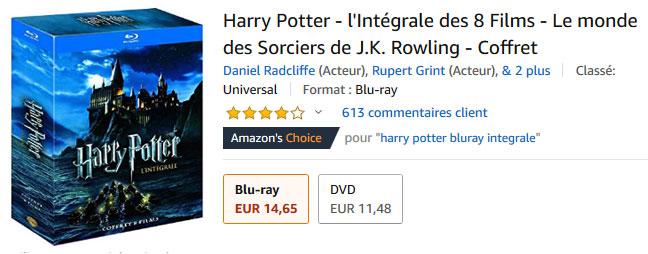 Promo Amazon : Coffrets Harry Potter avec jusqu'à 63% de remise