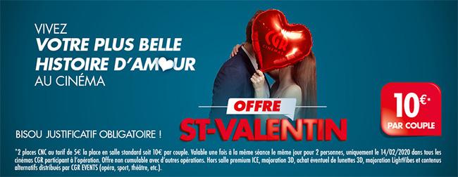 Place de cinéma CGR moins chère avec l'offre St-Valentin