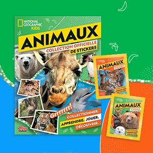 Jeu Topps et National Geographic Kids : albums + stickers Animaux à gagner
