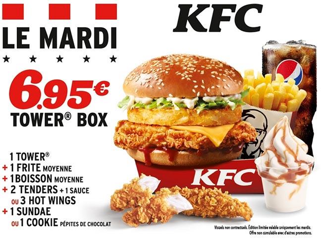 formule Tower Box : Un menu KFC complet à petit prix