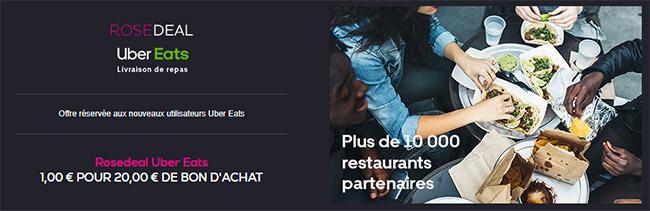 vente privée Uber Eats : Rosedeal à 1€ pour 20€ de bons d'achat