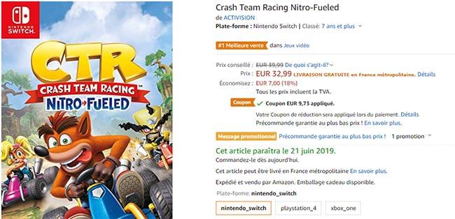 coupon de réduction Amazon pour jeu vidéo crash moins cher