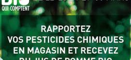 pesticides contre jus de pommes bio offert chez Botanic