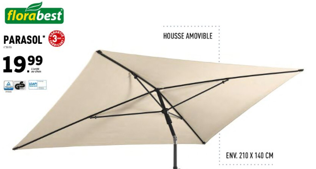 parasol inclinable Florabest Lidl