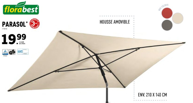 parasol inclinable Florabest Lidl