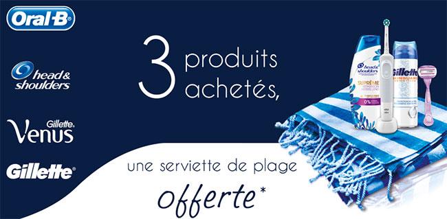 Obtenez une serviette de plage offerte pour 3 produits Procter&Gamble achetés