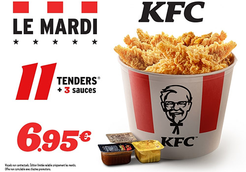 Tenders avec sauces à petit prix chez KFC