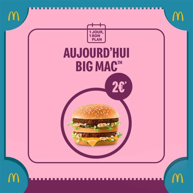 Bon plan McDo : Big Mac à 2€
