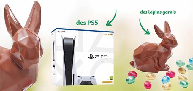 PS5 et lapins garnis à gagner au jeu Auchan de Pâques