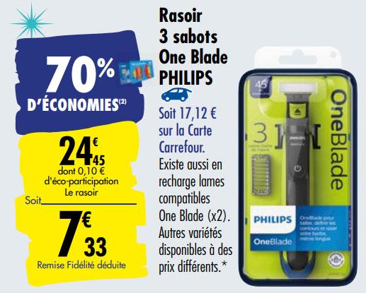 Promotion Rasoir OneBlade Philips de Carrefour