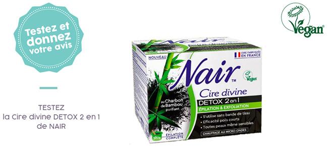 testez gratuitement la Cire Divine Détox 2en1 Nair