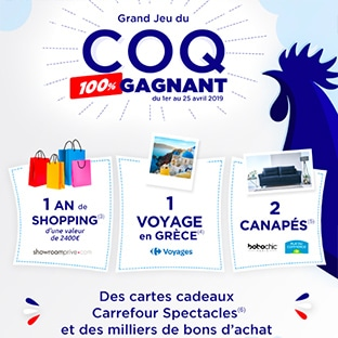 7fd06a06ce5 Jeu Coq 100% gagnant Carrefour   Des milliers de lots à gagner