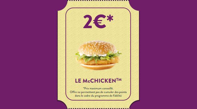McChicken pour 2€ grâce à l'offre 1 jour 1 bon plan