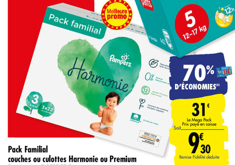 Promotion Carrefour sur les couches Pampers Harmonie