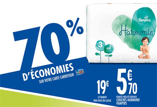 Promotion Carrefour sur les couches Pampers Harmonie