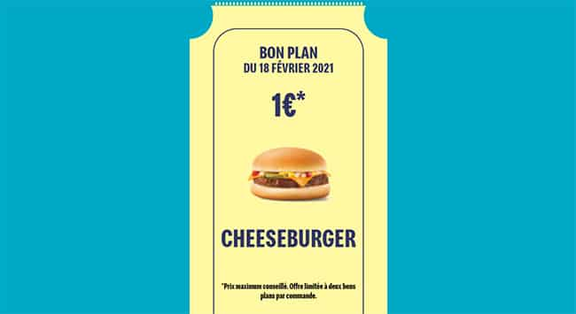 Cheeseburger de McDo en promo à 1 euro