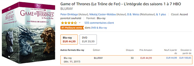 Coffret Game of Thrones en promotion sur Amazon