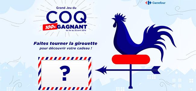 Voyage, shopping, canapé et bon à gagner avec le jeu du Coq Carrefour