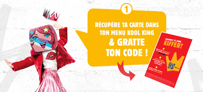 Carte Kool King Shop offerte pour un menu Kool King enfant acheté