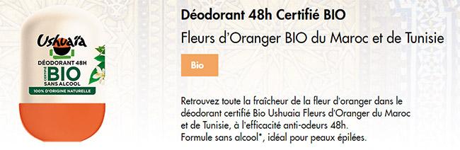 testez le déodorant bille Fleurs d'Oranger BIO d'Ushuaïa