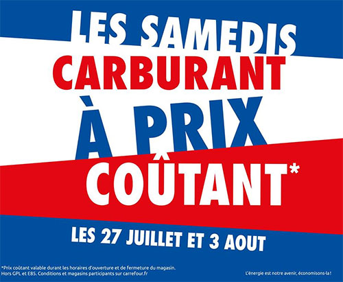 Diesel et essence à prix coûtant chez Carrefour
