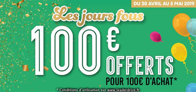 Lot de 4 bons de réduction Leader Price offerts