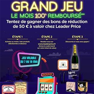 Jeu LeaderPrice.fr avec code Le Mois 100% Remboursé