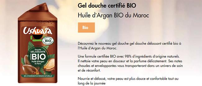 testez gratuitement le gel douche BIO à l'huile d'Argan d'Ushuaïa
