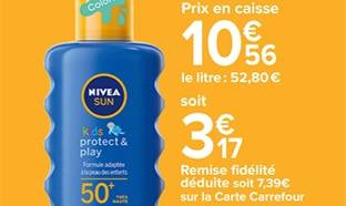 Promo Carrefour : Crème solaire Nivea pas chère