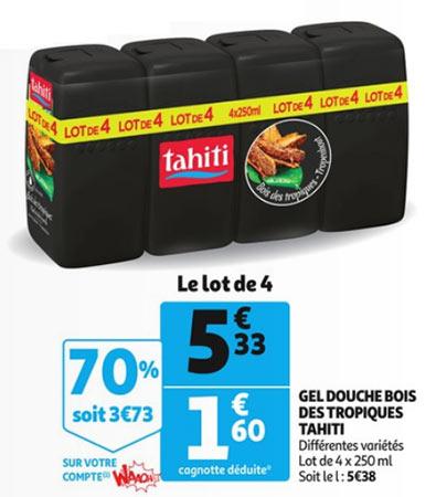 Pack de 4 gels douche Tahiti en promotion Auchan