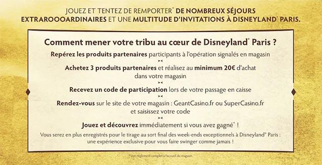 Jeu Disneyland Paris sur GeantCasino.fr et SuperCasino.fr
