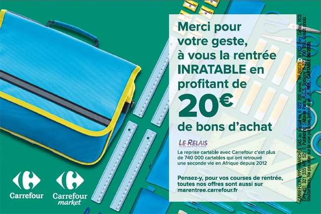 recyclage cartable = bons achat carrefour offerts