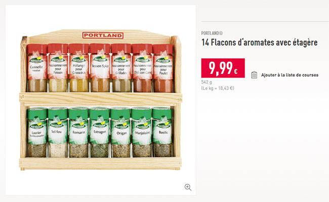 présentoir d'épice à petit prix Aldi
