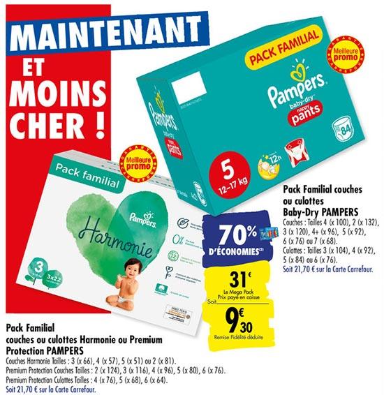 70% de remise fidélité sur les couches Pampers dans les magasins Carrefour
