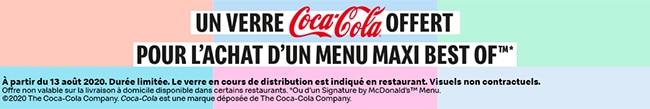 Verre McDo CocaCola offert pour un menu acheté