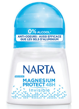 déodorant à bille Magnésium Protect 48H Invisible de Narta