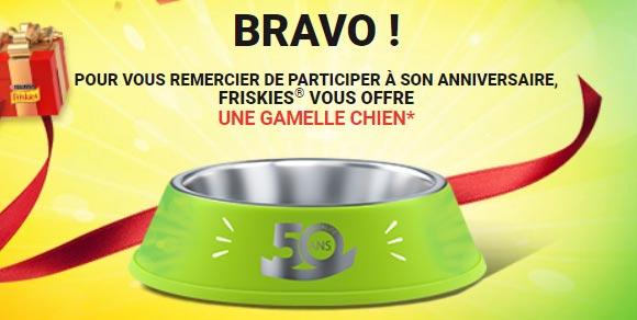 Gamelle Friskies gagné sur 50ansfriskies.fr