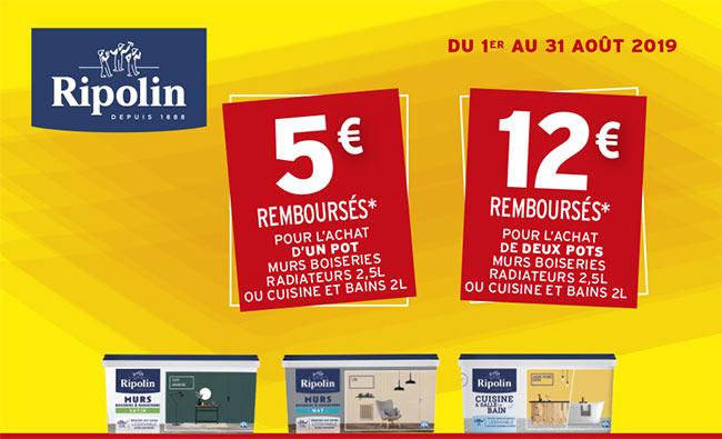 Obtenez 5€ ou 12€ remboursés pour l'achat de peinture Ripolin